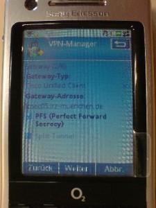 Gateway-Typ, Gateway-Adresse, PFS aktiviert